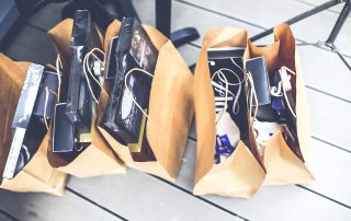 brown bags stuffed with goodies